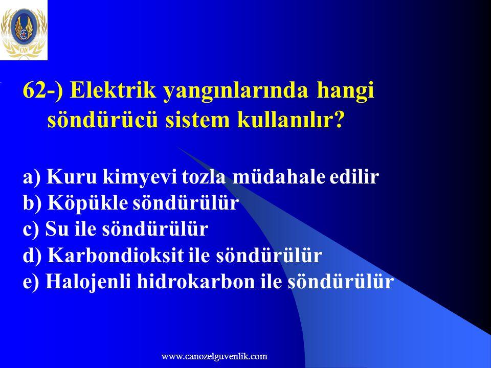 62-) Elektrik yangınlarında hangi söndürücü sistem kullanılır