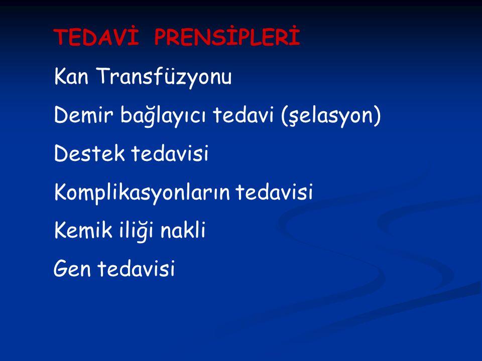 TEDAVİ PRENSİPLERİ Kan Transfüzyonu. Demir bağlayıcı tedavi (şelasyon) Destek tedavisi. Komplikasyonların tedavisi.