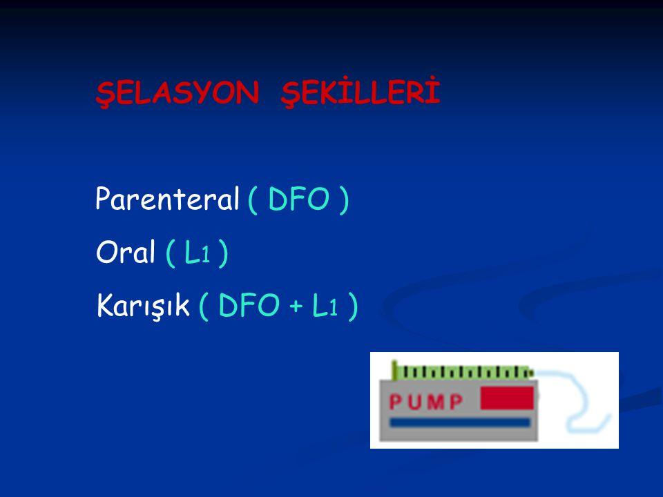 ŞELASYON ŞEKİLLERİ Parenteral ( DFO ) Oral ( L1 ) Karışık ( DFO + L1 )
