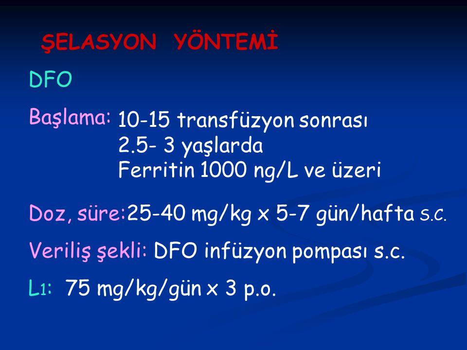 ŞELASYON YÖNTEMİ DFO. Başlama: 10-15 transfüzyon sonrası 2.5- 3 yaşlarda Ferritin 1000 ng/L ve üzeri.