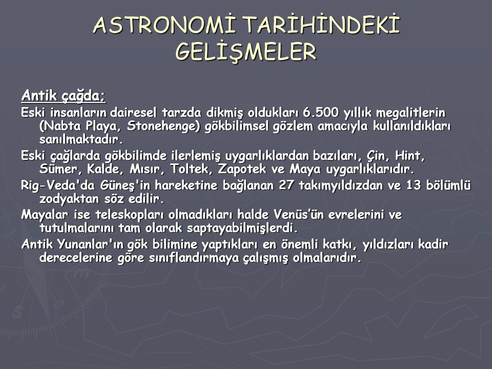 ASTRONOMİ TARİHİNDEKİ GELİŞMELER