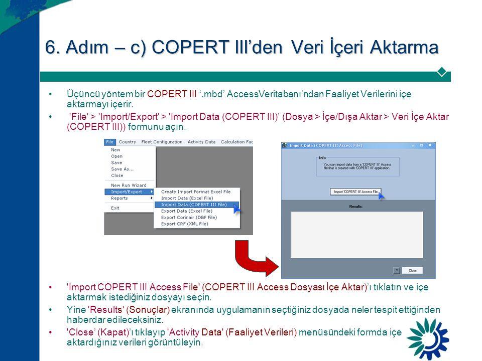 6. Adım – c) COPERT III'den Veri İçeri Aktarma