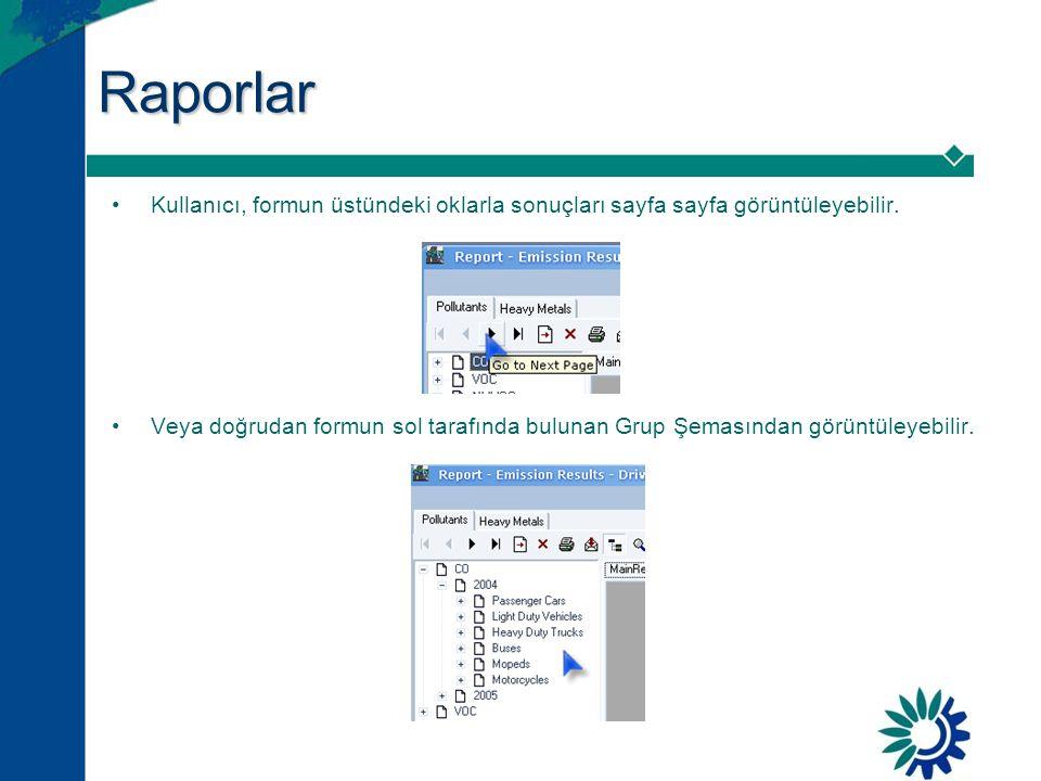 Raporlar Kullanıcı, formun üstündeki oklarla sonuçları sayfa sayfa görüntüleyebilir.