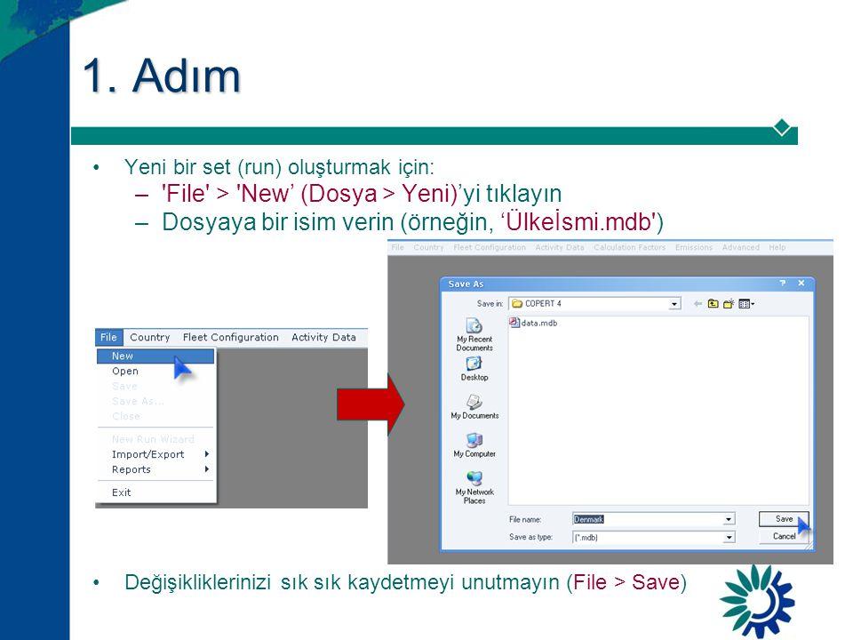 1. Adım File > New' (Dosya > Yeni)'yi tıklayın