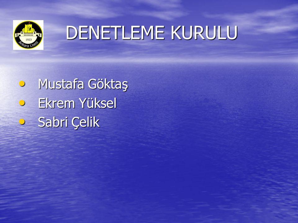 DENETLEME KURULU Mustafa Göktaş Ekrem Yüksel Sabri Çelik