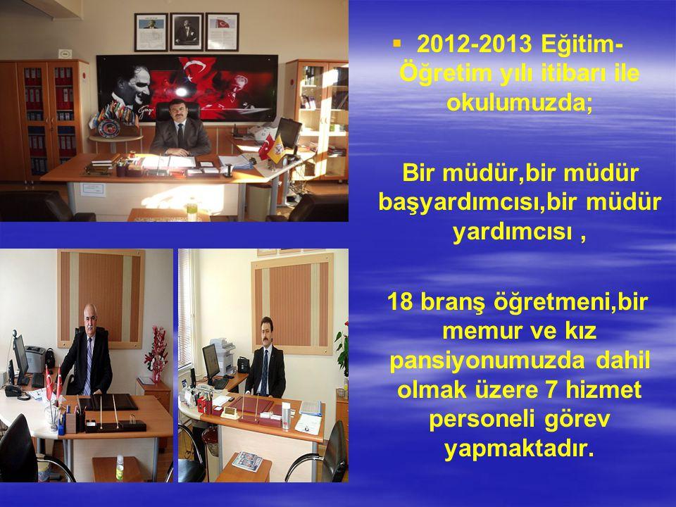 2012-2013 Eğitim-Öğretim yılı itibarı ile okulumuzda;