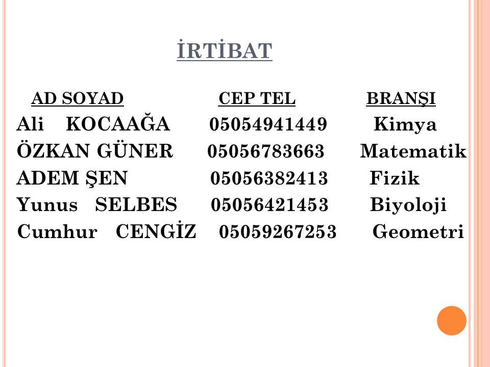 İRTİBAT Ali KOCAAĞA 05054941449 Kimya
