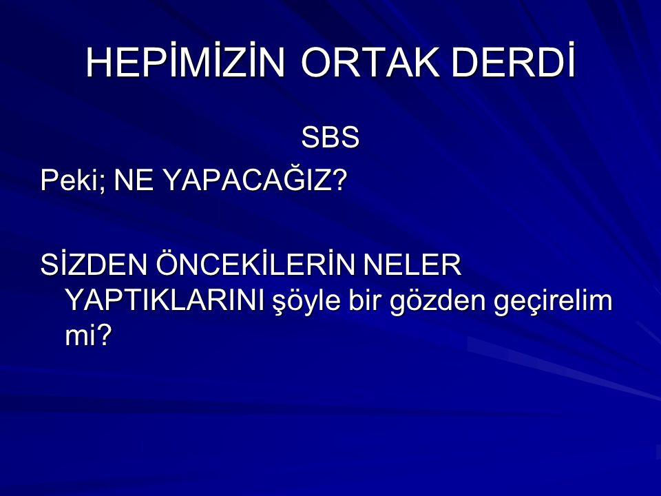 HEPİMİZİN ORTAK DERDİ SBS Peki; NE YAPACAĞIZ