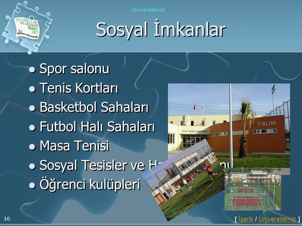 Sosyal İmkanlar Spor salonu Tenis Kortları Basketbol Sahaları