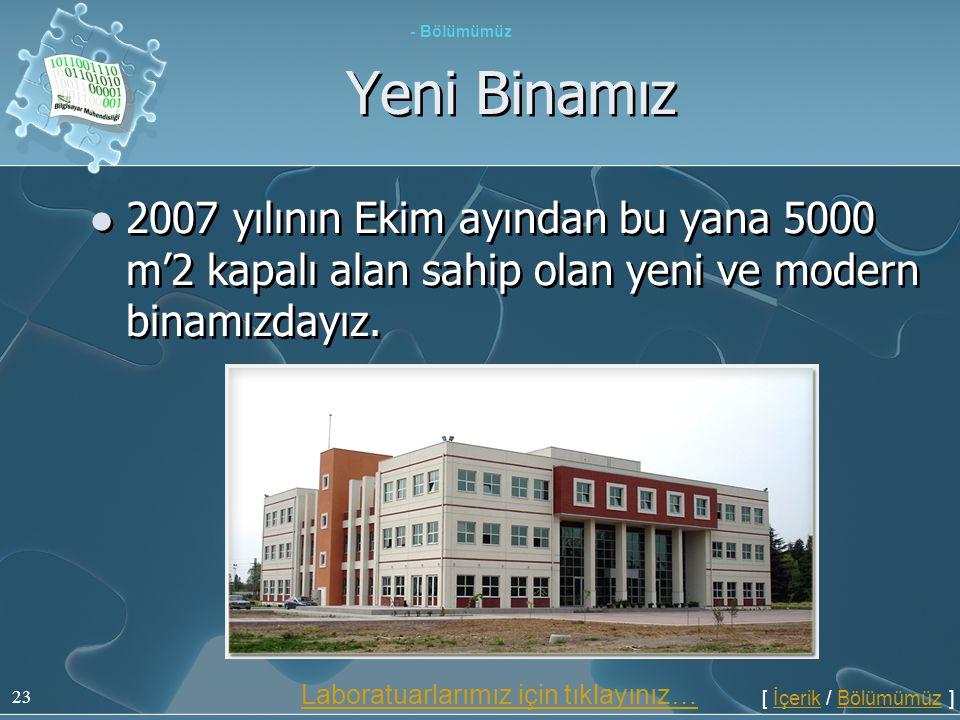 - Bölümümüz Yeni Binamız. 2007 yılının Ekim ayından bu yana 5000 m'2 kapalı alan sahip olan yeni ve modern binamızdayız.