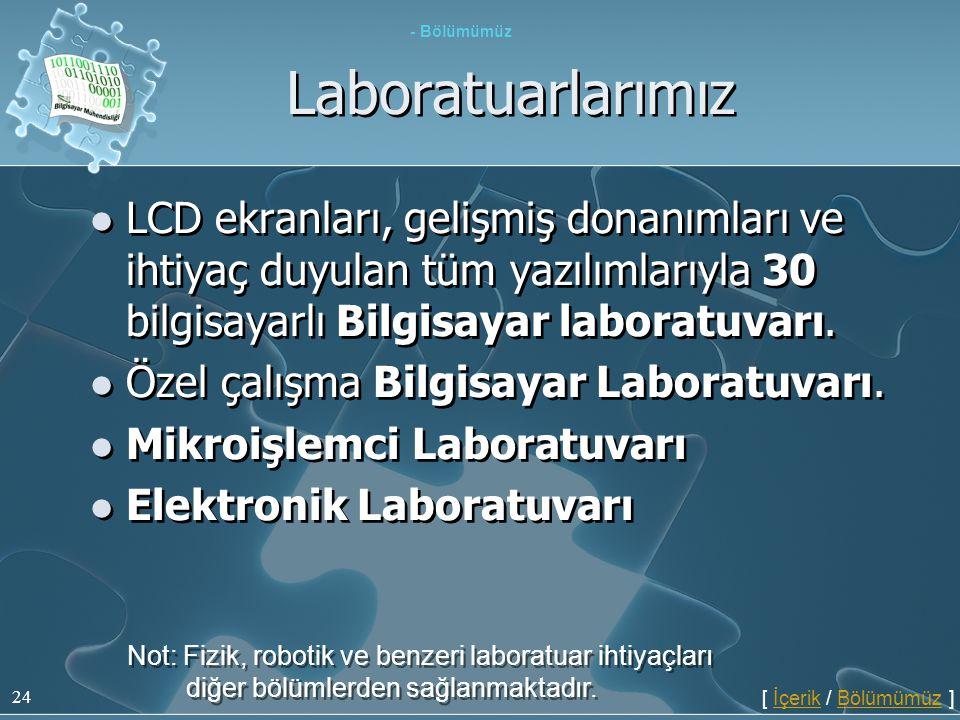 - Bölümümüz Laboratuarlarımız. LCD ekranları, gelişmiş donanımları ve ihtiyaç duyulan tüm yazılımlarıyla 30 bilgisayarlı Bilgisayar laboratuvarı.