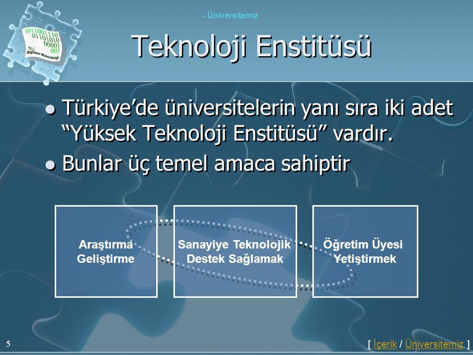 - Üniversitemiz Teknoloji Enstitüsü. Türkiye'de üniversitelerin yanı sıra iki adet Yüksek Teknoloji Enstitüsü vardır.