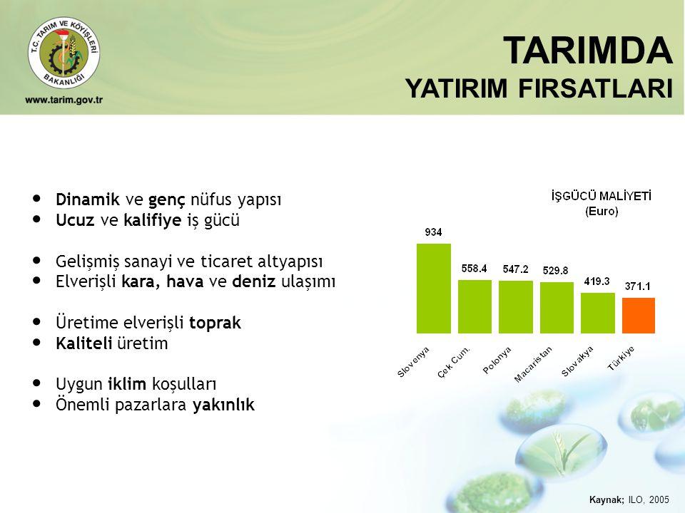 TARIMDA YATIRIM FIRSATLARI Dinamik ve genç nüfus yapısı
