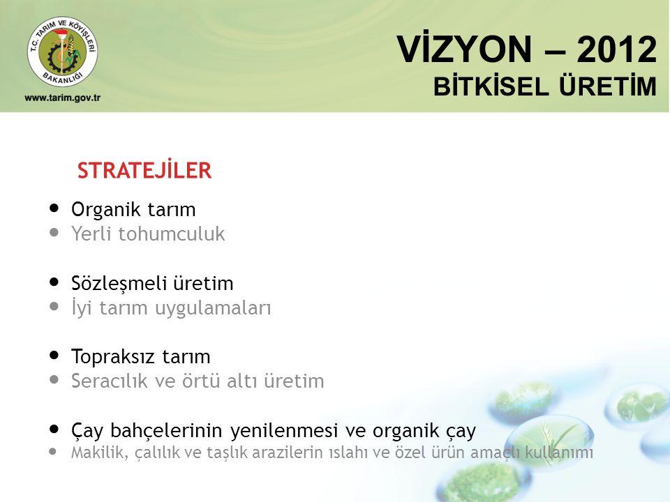 VİZYON – 2012 BİTKİSEL ÜRETİM STRATEJİLER Organik tarım
