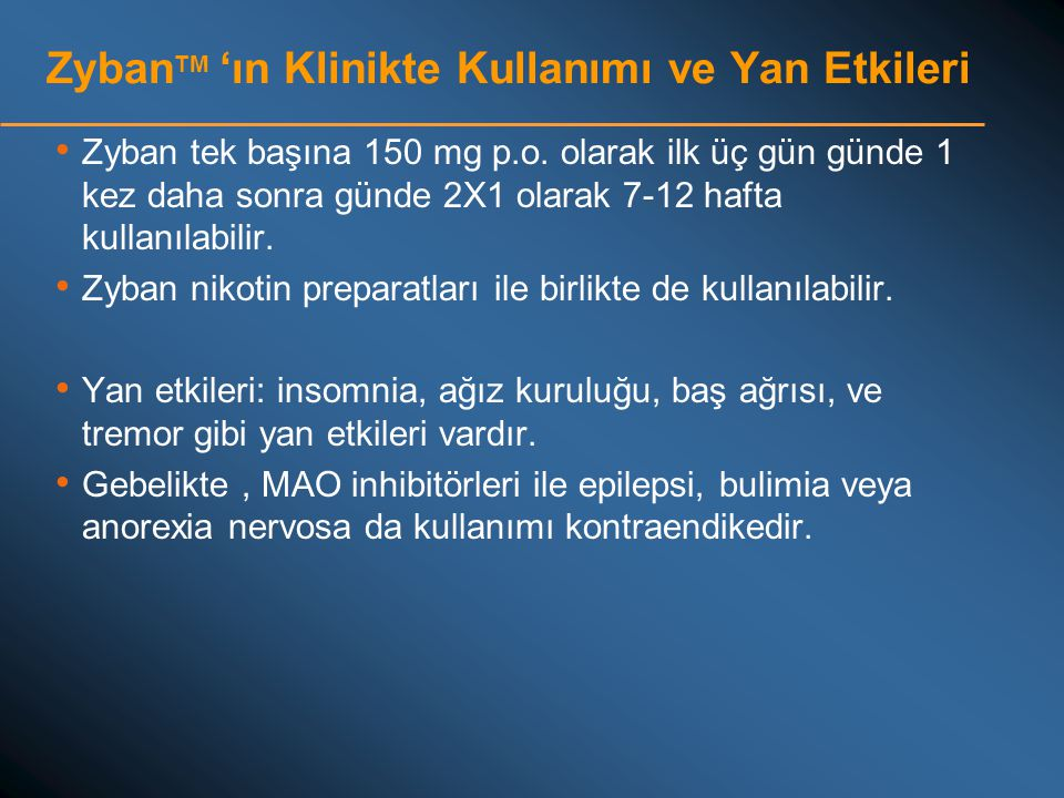 ZybanTM 'ın Klinikte Kullanımı ve Yan Etkileri