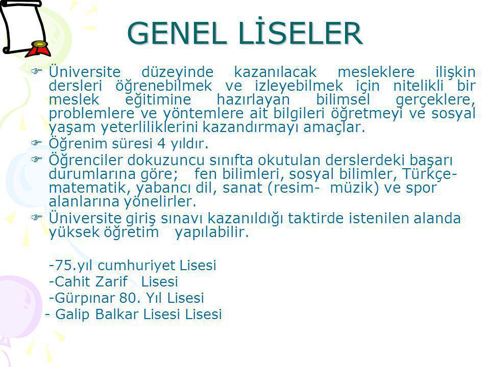 GENEL LİSELER