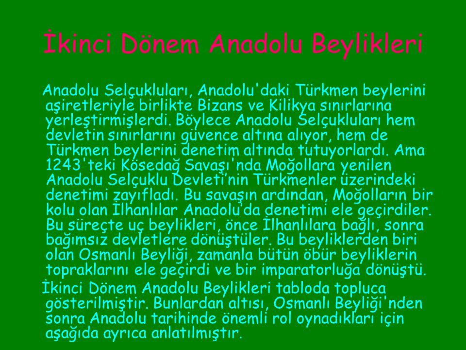İkinci Dönem Anadolu Beylikleri