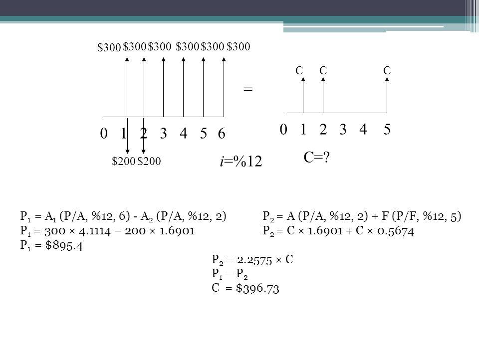 1 2. 3. 4. 5. $200. $300. C. = i=%12. C= 6. P1 = A1 (P/A, %12, 6) - A2 (P/A, %12, 2) P2 = A (P/A, %12, 2) + F (P/F, %12, 5)