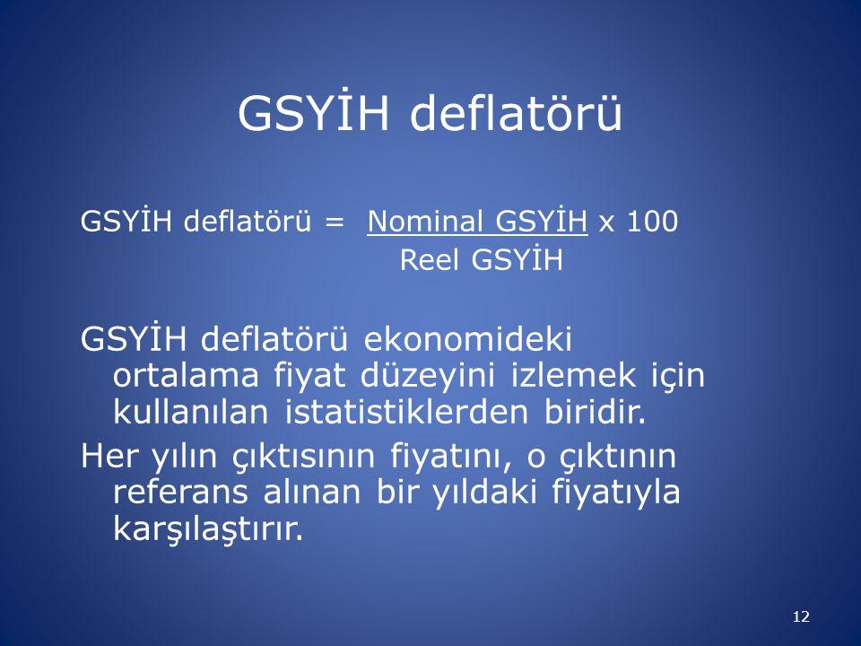 GSYİH deflatörü GSYİH deflatörü = Nominal GSYİH x 100. Reel GSYİH.