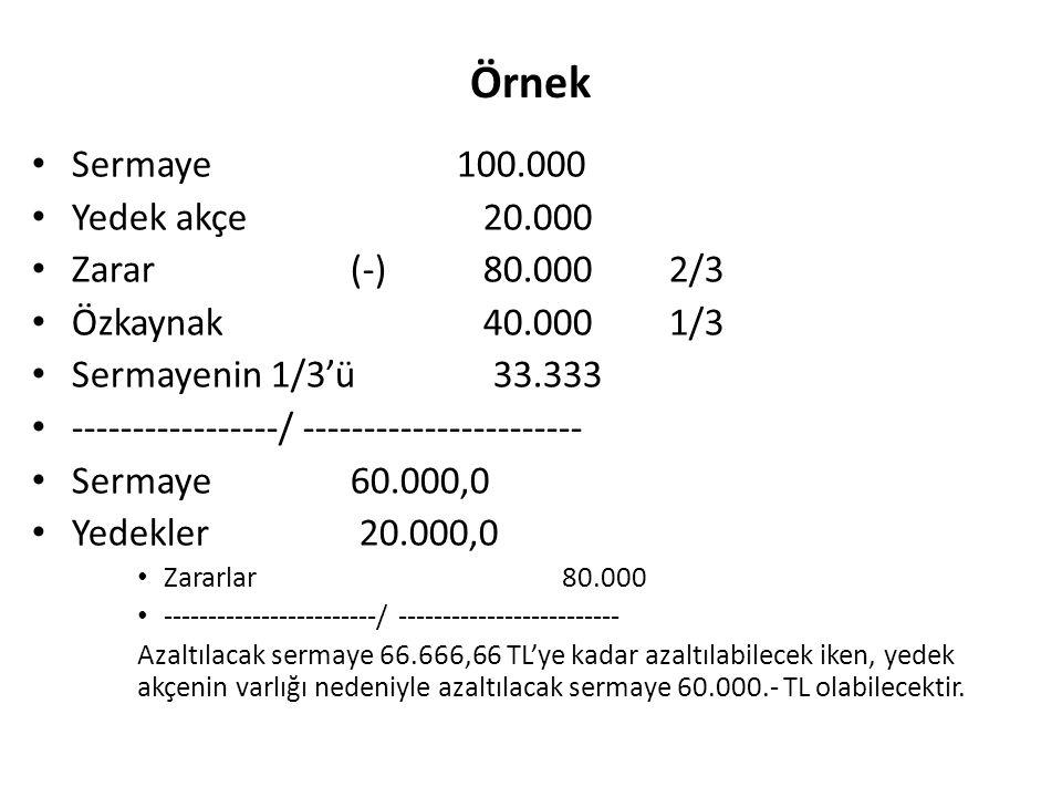 Örnek Sermaye 100.000 Yedek akçe 20.000 Zarar (-) 80.000 2/3
