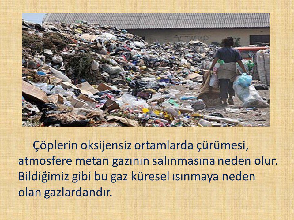Çöplerin oksijensiz ortamlarda çürümesi, atmosfere metan gazının salınmasına neden olur.