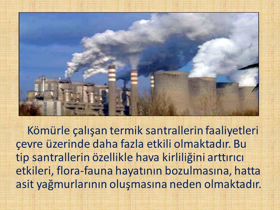 Kömürle çalışan termik santrallerin faaliyetleri çevre üzerinde daha fazla etkili olmaktadır.