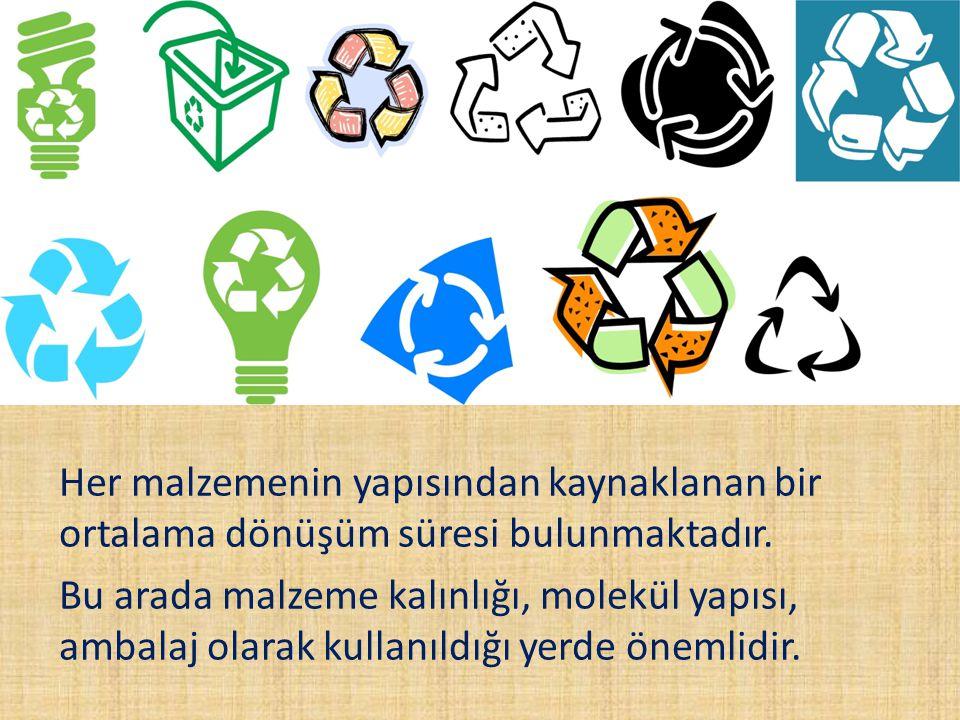Her malzemenin yapısından kaynaklanan bir ortalama dönüşüm süresi bulunmaktadır.