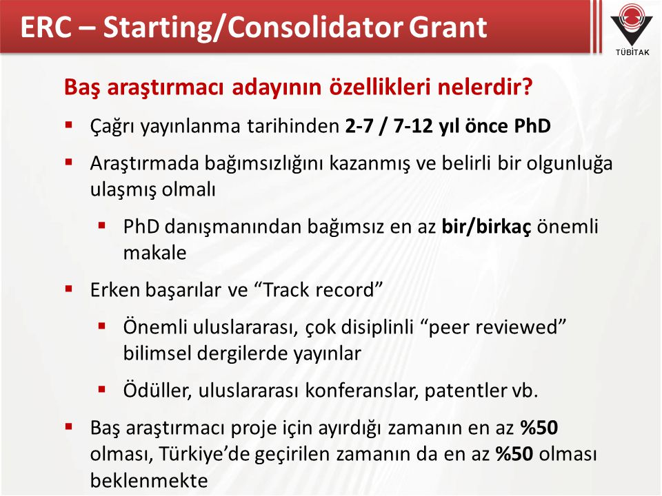 ERC – Starting/Consolidator Grant