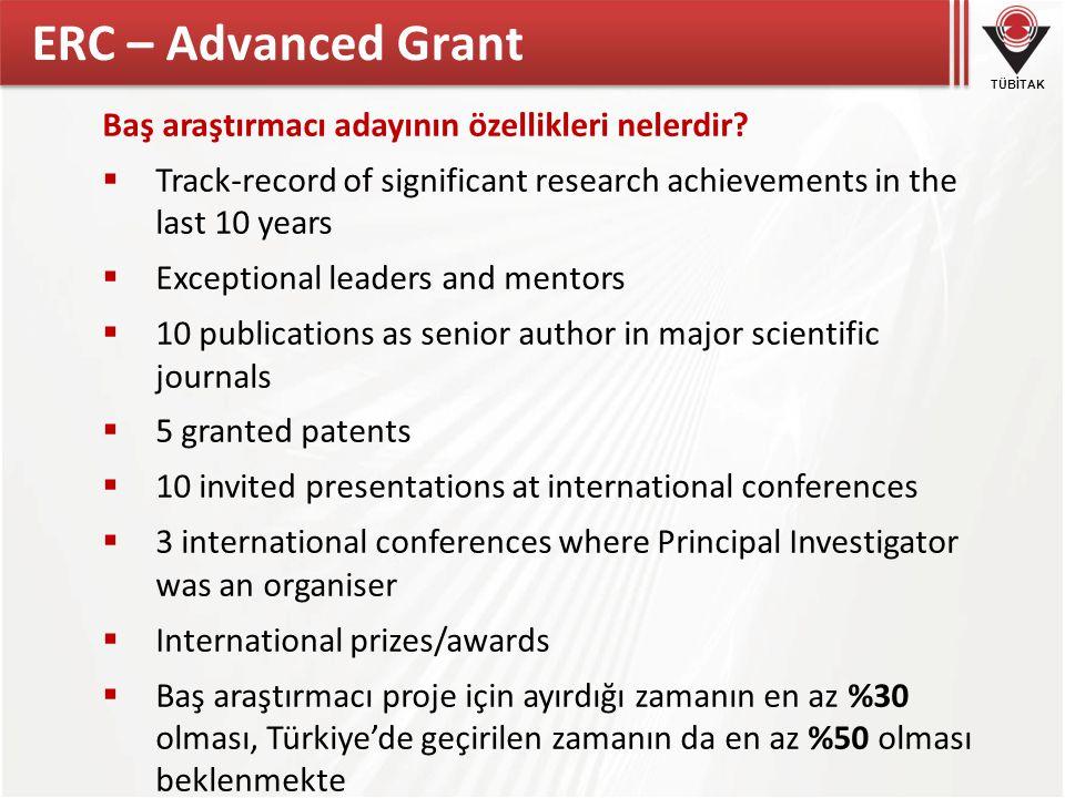 ERC – Advanced Grant Baş araştırmacı adayının özellikleri nelerdir