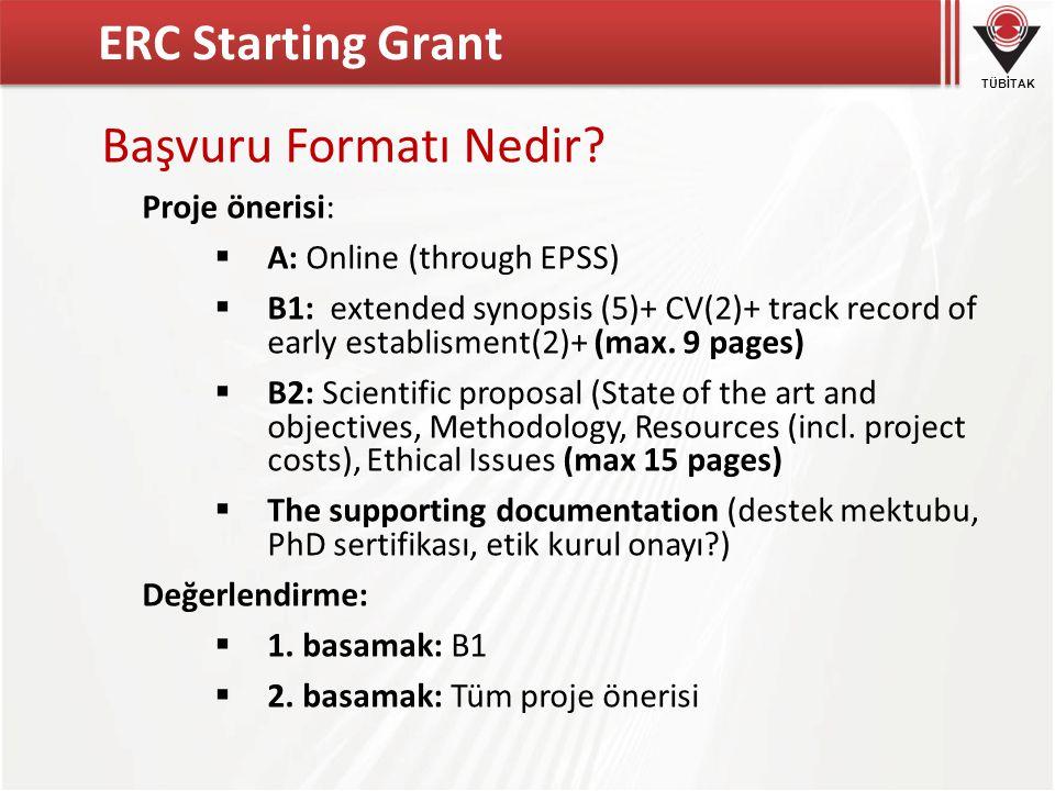 ERC Starting Grant Başvuru Formatı Nedir Proje önerisi: