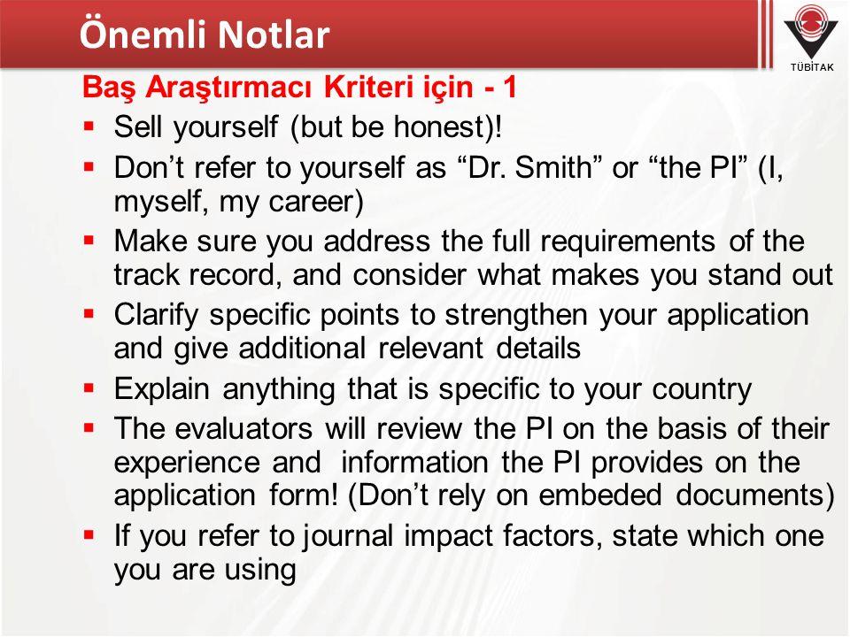 Önemli Notlar Baş Araştırmacı Kriteri için - 1