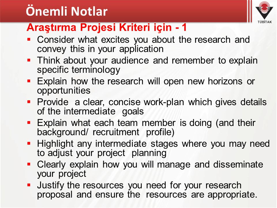 Önemli Notlar Araştırma Projesi Kriteri için - 1