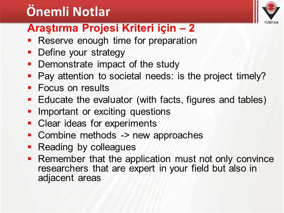 Önemli Notlar Araştırma Projesi Kriteri için – 2