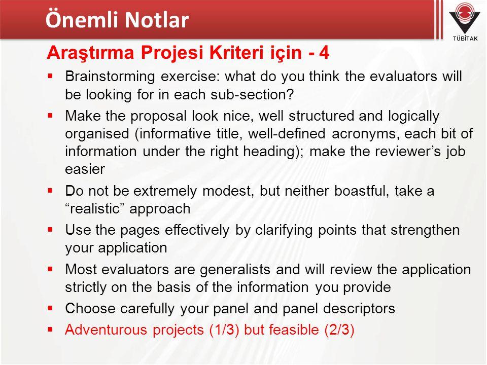Önemli Notlar Araştırma Projesi Kriteri için - 4