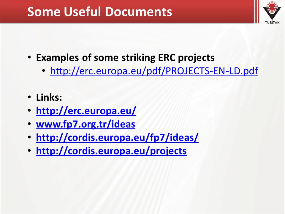 Some Useful Documents Examples of some striking ERC projects