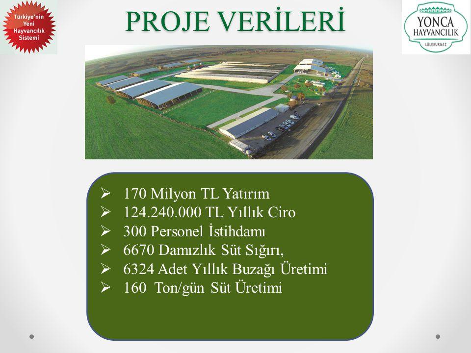 PROJE VERİLERİ 170 Milyon TL Yatırım 124.240.000 TL Yıllık Ciro