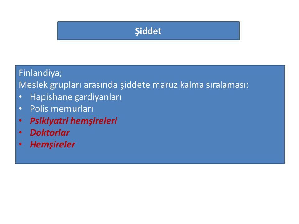 Şiddet Finlandiya; Meslek grupları arasında şiddete maruz kalma sıralaması: Hapishane gardiyanları.