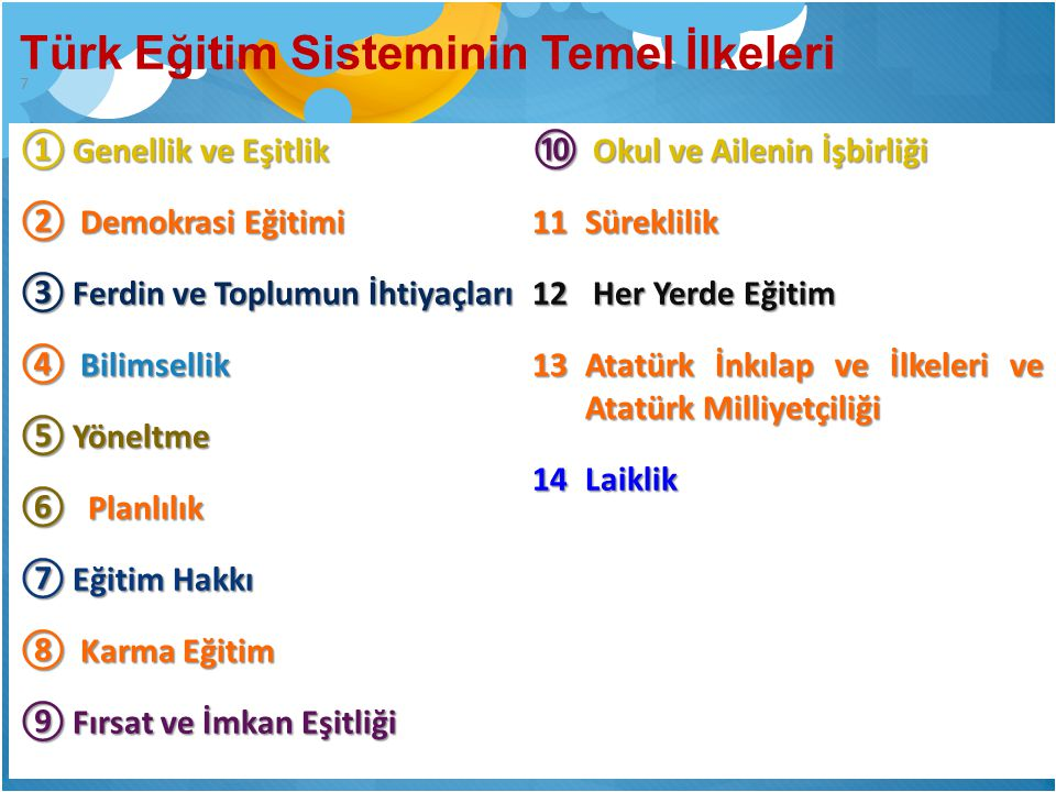 Türk Eğitim Sisteminin Temel İlkeleri