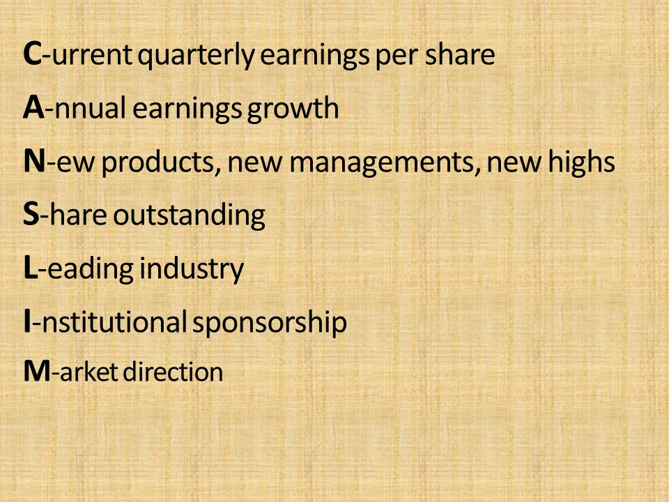 C-urrent quarterly earnings per share A-nnual earnings growth