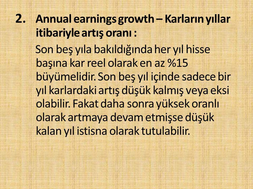 2. Annual earnings growth – Karların yıllar itibariyle artış oranı :