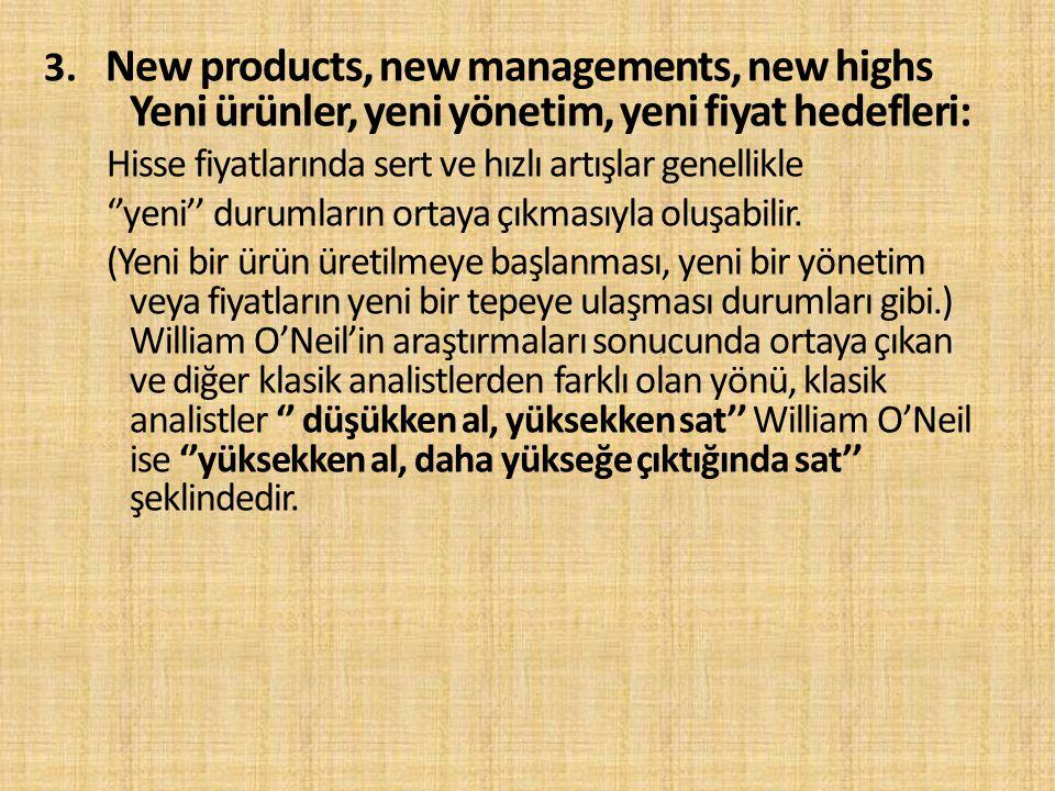 3. New products, new managements, new highs Yeni ürünler, yeni yönetim, yeni fiyat hedefleri: