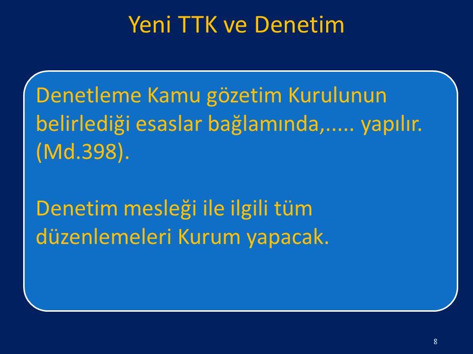 Yeni TTK ve Denetim Denetleme Kamu gözetim Kurulunun belirlediği esaslar bağlamında,..... yapılır. (Md.398).