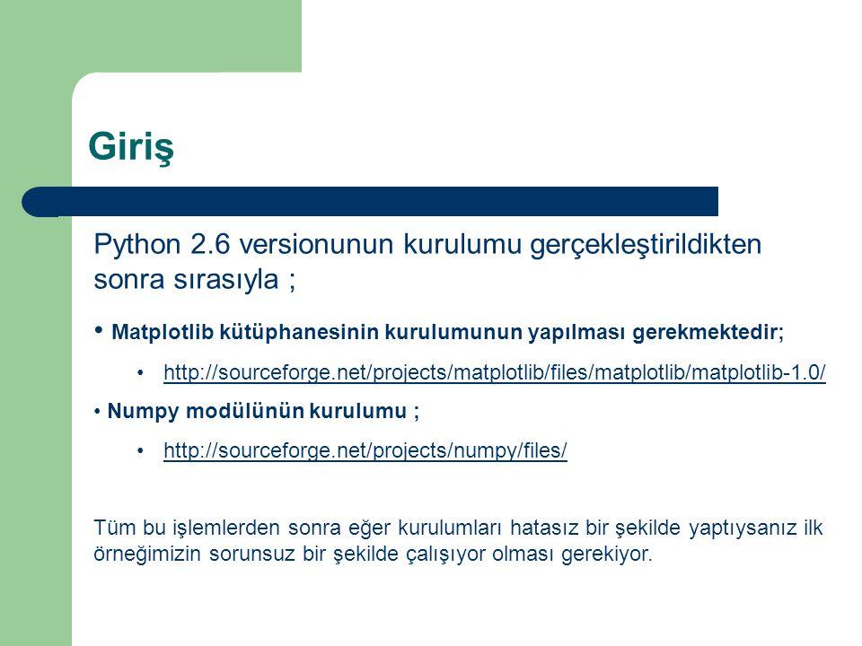 Giriş Python 2.6 versionunun kurulumu gerçekleştirildikten sonra sırasıyla ; Matplotlib kütüphanesinin kurulumunun yapılması gerekmektedir;