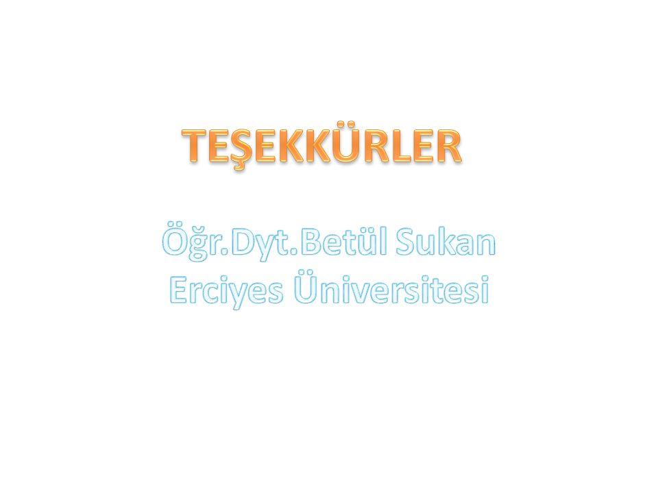 TEŞEKKÜRLER Öğr.Dyt.Betül Sukan Erciyes Üniversitesi