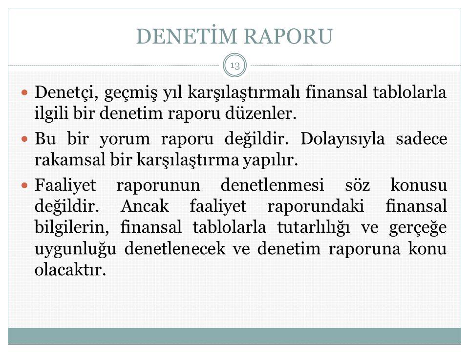 DENETİM RAPORU Denetçi, geçmiş yıl karşılaştırmalı finansal tablolarla ilgili bir denetim raporu düzenler.
