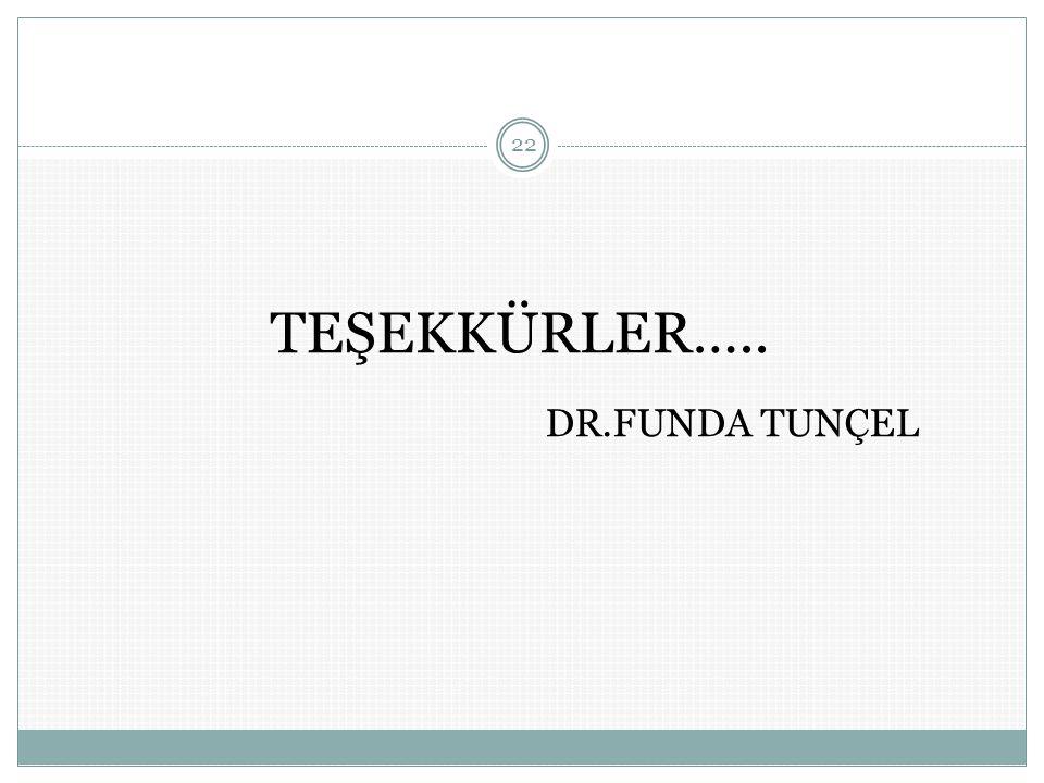 TEŞEKKÜRLER….. DR.FUNDA TUNÇEL