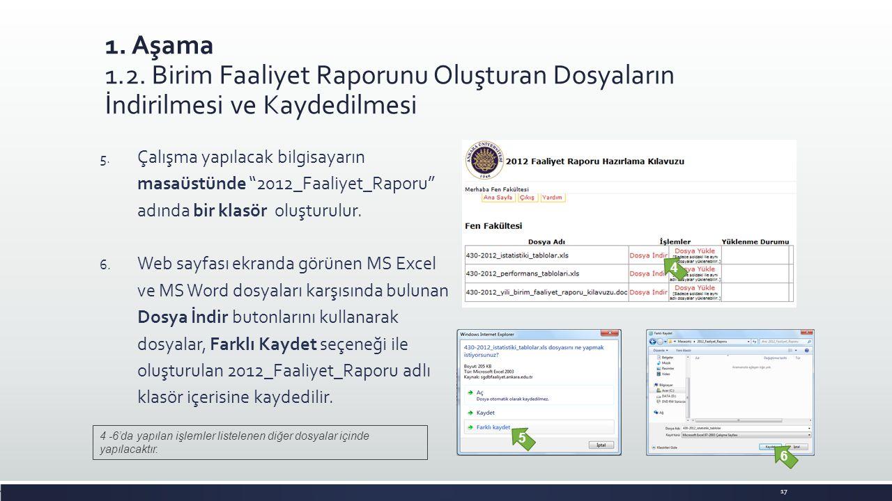 1. Aşama 1.2. Birim Faaliyet Raporunu Oluşturan Dosyaların İndirilmesi ve Kaydedilmesi