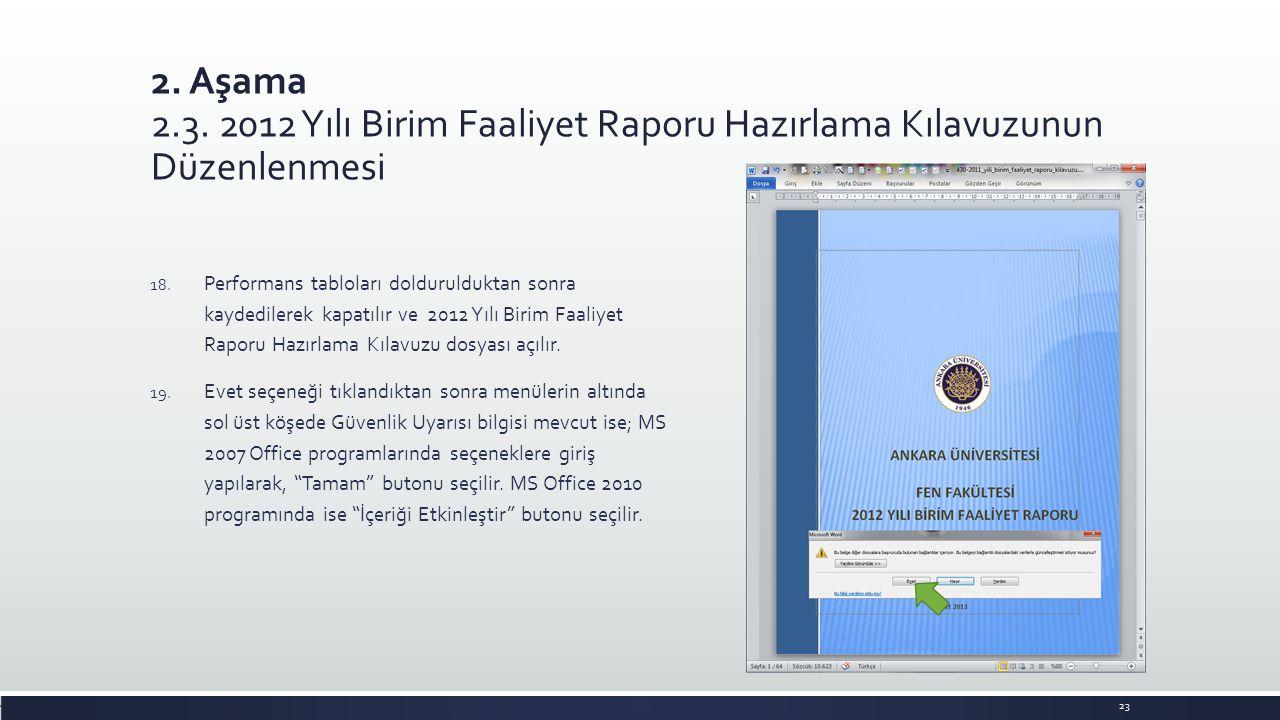 2. Aşama 2.3. 2012 Yılı Birim Faaliyet Raporu Hazırlama Kılavuzunun Düzenlenmesi