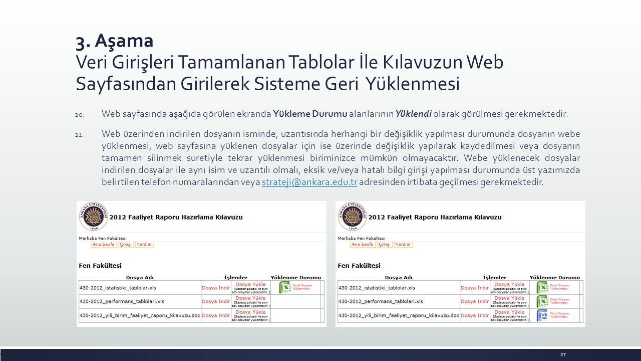 3. Aşama Veri Girişleri Tamamlanan Tablolar İle Kılavuzun Web Sayfasından Girilerek Sisteme Geri Yüklenmesi