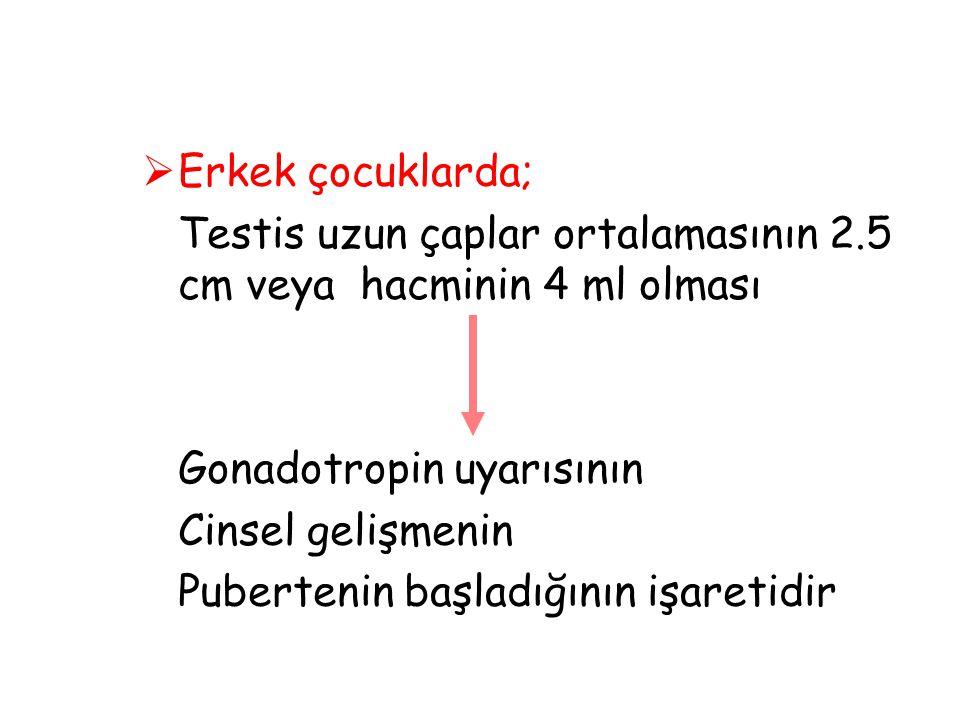 Erkek çocuklarda; Testis uzun çaplar ortalamasının 2.5 cm veya hacminin 4 ml olması. Gonadotropin uyarısının.